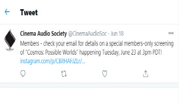 Cinema Audio Society Tweet